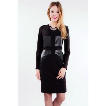 Czarna sukienka z wstawkami...