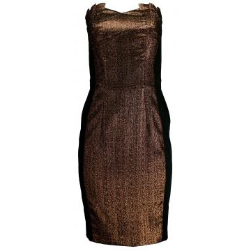 Brązowa sukienka ze złotym...