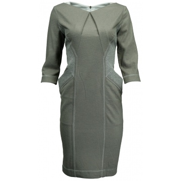 Beżowa sukienka srebrne...