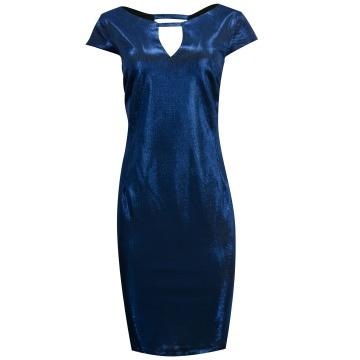 Kobaltowa błyszcząca sukienka