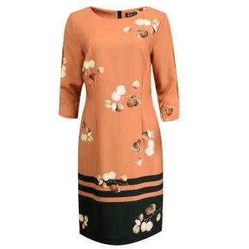 Brązowa sukienka motyw...