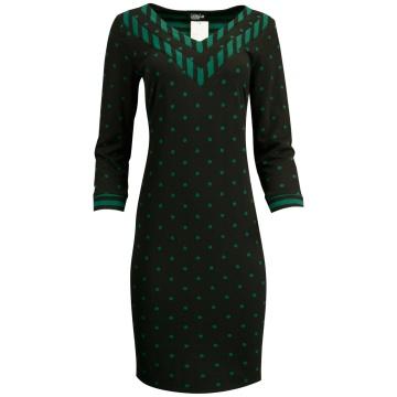 Czarna sukienka w zielone...