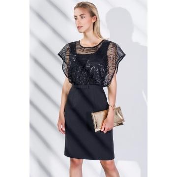 Czarna sukienka koronkowa 7545