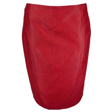 Bordowa spódnica z eko skóry