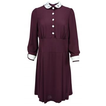 Bordowa sukienka z guzikami...