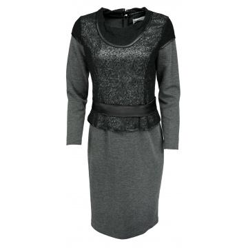 Czarno-grafitowa sukienka z...