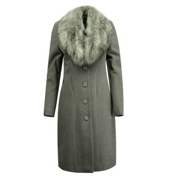 Szary płaszcz damski z...
