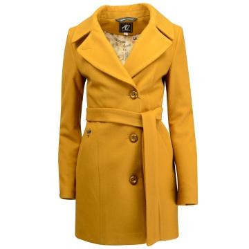 Musztardowy płaszcz damski...