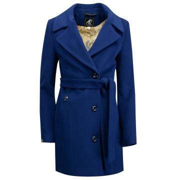 Kobaltowy płaszcz damski z...