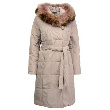 Liliowy płaszcz zimowy z...