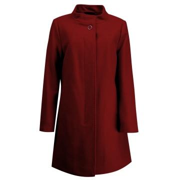Bordowy płaszcz damski z...