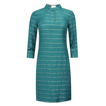 Zielona sukienka w złote paski