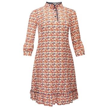 Kolorowa sukienka z falbaną