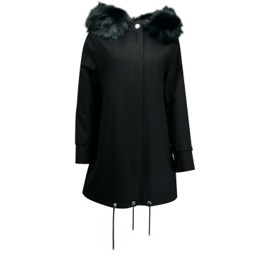 Granatowy płaszcz damski z...